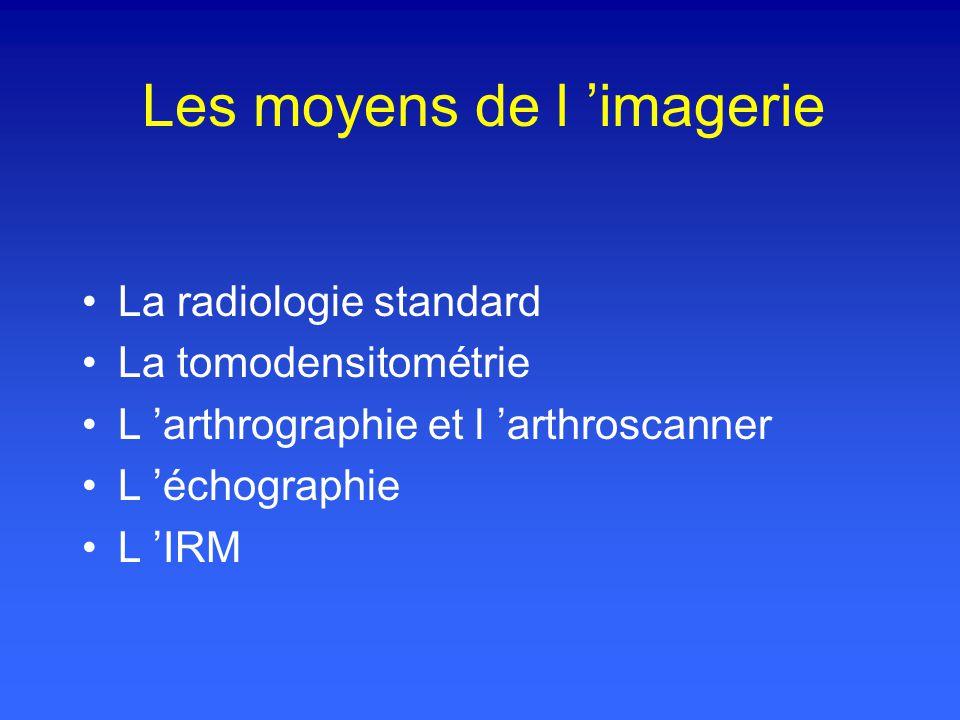Les moyens de l imagerie La radiologie standard La tomodensitométrie L arthrographie et l arthroscanner L échographie L IRM