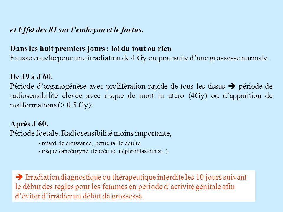 e) Effet des RI sur lembryon et le foetus.