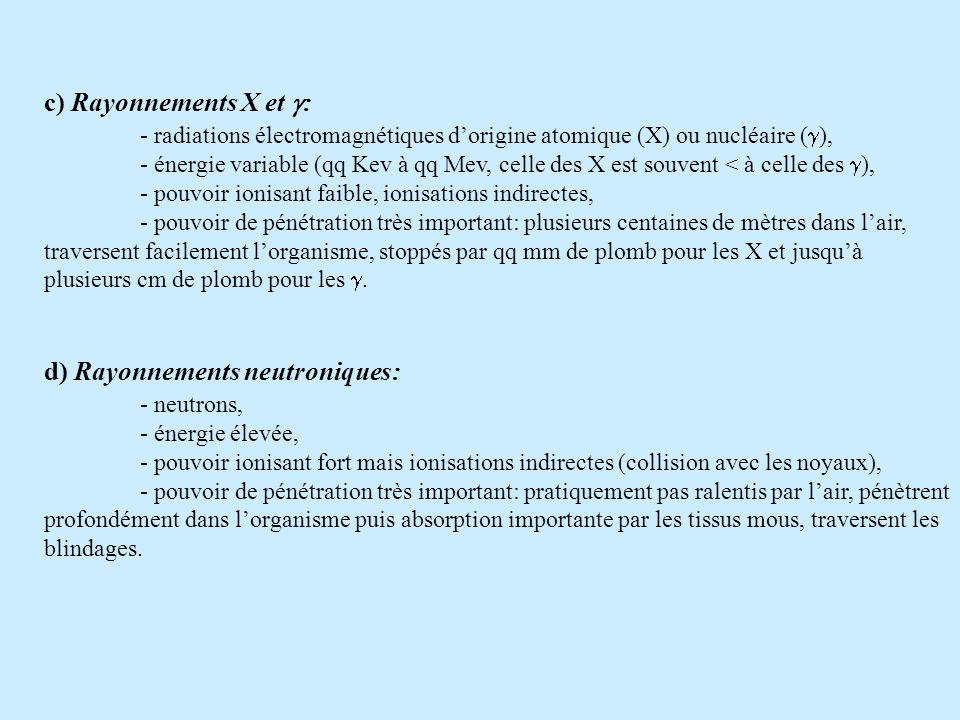 c) Rayonnements X et : - radiations électromagnétiques dorigine atomique (X) ou nucléaire ( ), - énergie variable (qq Kev à qq Mev, celle des X est souvent < à celle des ), - pouvoir ionisant faible, ionisations indirectes, - pouvoir de pénétration très important: plusieurs centaines de mètres dans lair, traversent facilement lorganisme, stoppés par qq mm de plomb pour les X et jusquà plusieurs cm de plomb pour les.