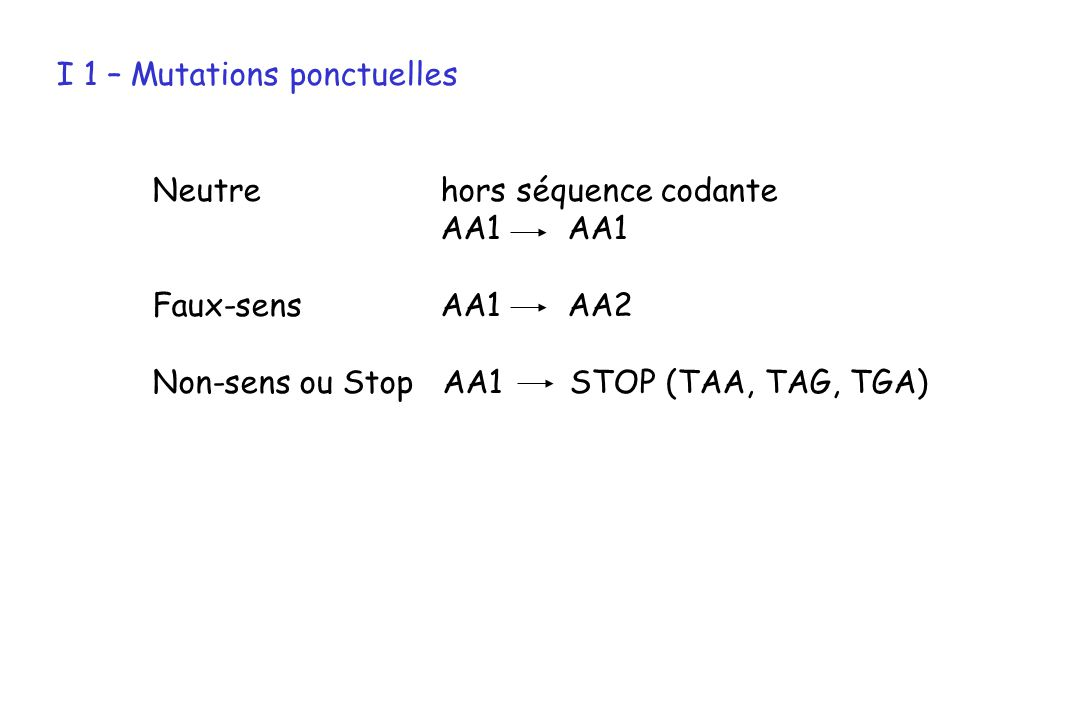 I 1 – Mutations ponctuelles Neutre hors séquence codante AA1 Faux-sens AA1 AA2 Non-sens ou Stop AA1 STOP (TAA, TAG, TGA)
