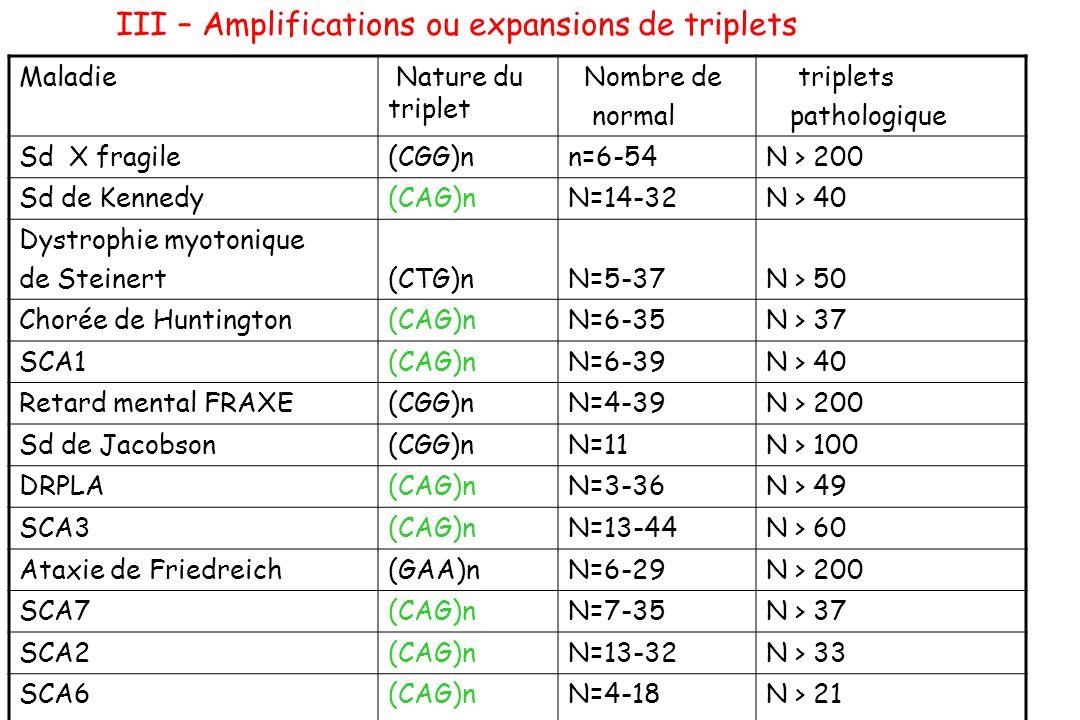 III – Amplifications ou expansions de triplets Maladie Nature du triplet Nombre de normal triplets pathologique Sd X fragile(CGG)nn=6-54N > 200 Sd de
