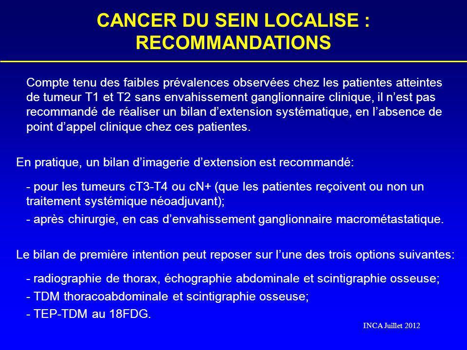 Compte tenu des faibles prévalences observées chez les patientes atteintes de tumeur T1 et T2 sans envahissement ganglionnaire clinique, il nest pas r