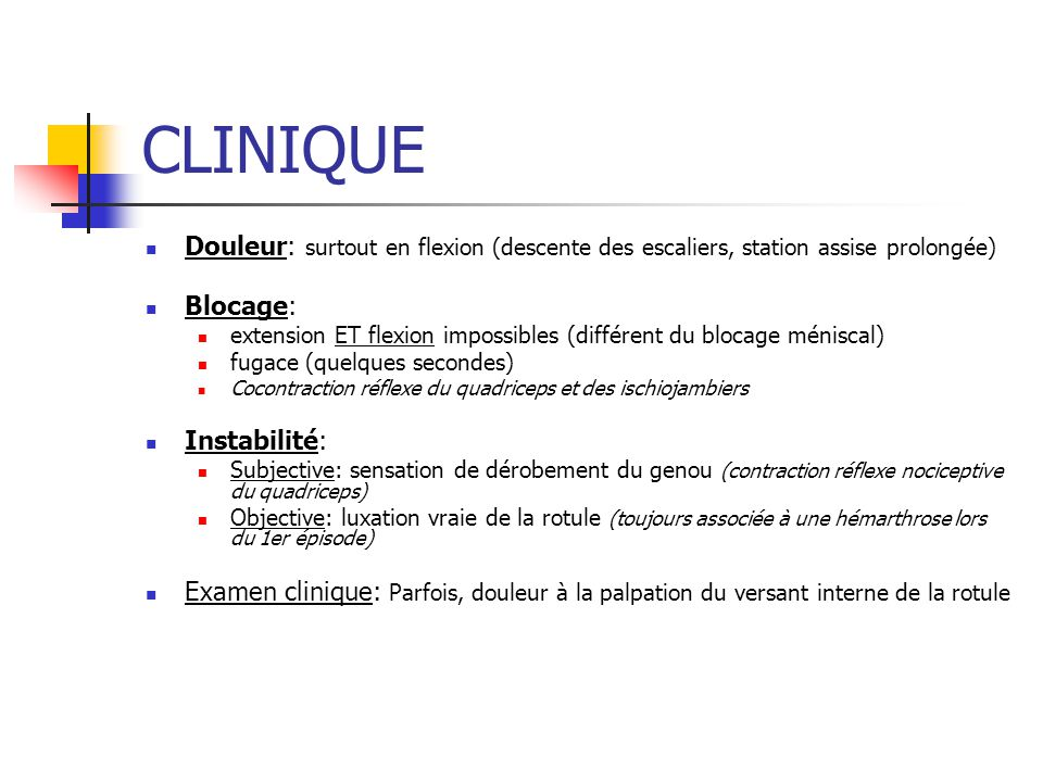 Cas clinique (4) Hauteur rotulienne: