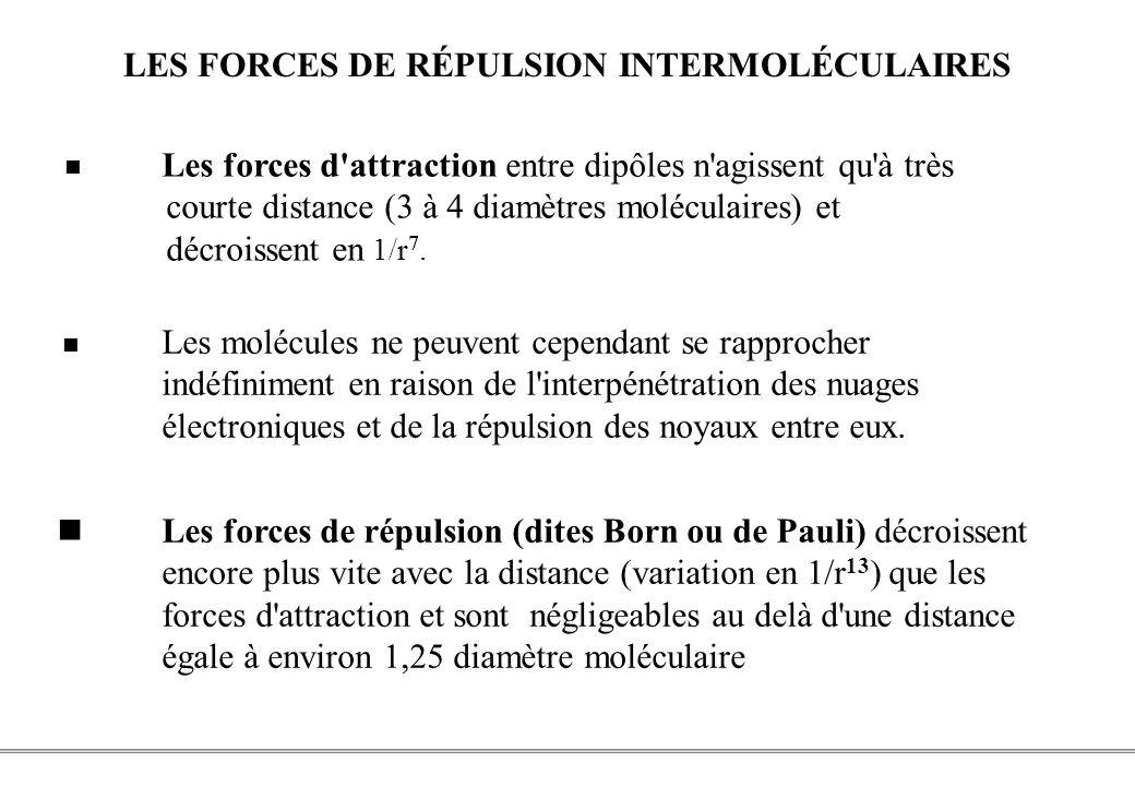 PCEM1 – Biophysique- 18 - LES FORCES DE RÉPULSION INTERMOLÉCULAIRES Les forces d attraction entre dipôles n agissent qu à très courte distance (3 à 4 diamètres moléculaires) et décroissent en 1/r 7.