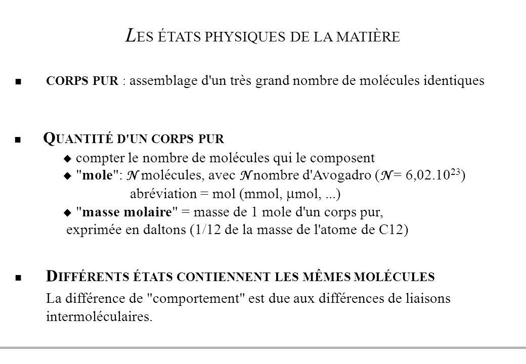 PCEM1 – Biophysique- 2 - L ES ÉTATS PHYSIQUES DE LA MATIÈRE CORPS PUR : assemblage d un très grand nombre de molécules identiques D IFFÉRENTS ÉTATS CONTIENNENT LES MÊMES MOLÉCULES La différence de comportement est due aux différences de liaisons intermoléculaires.
