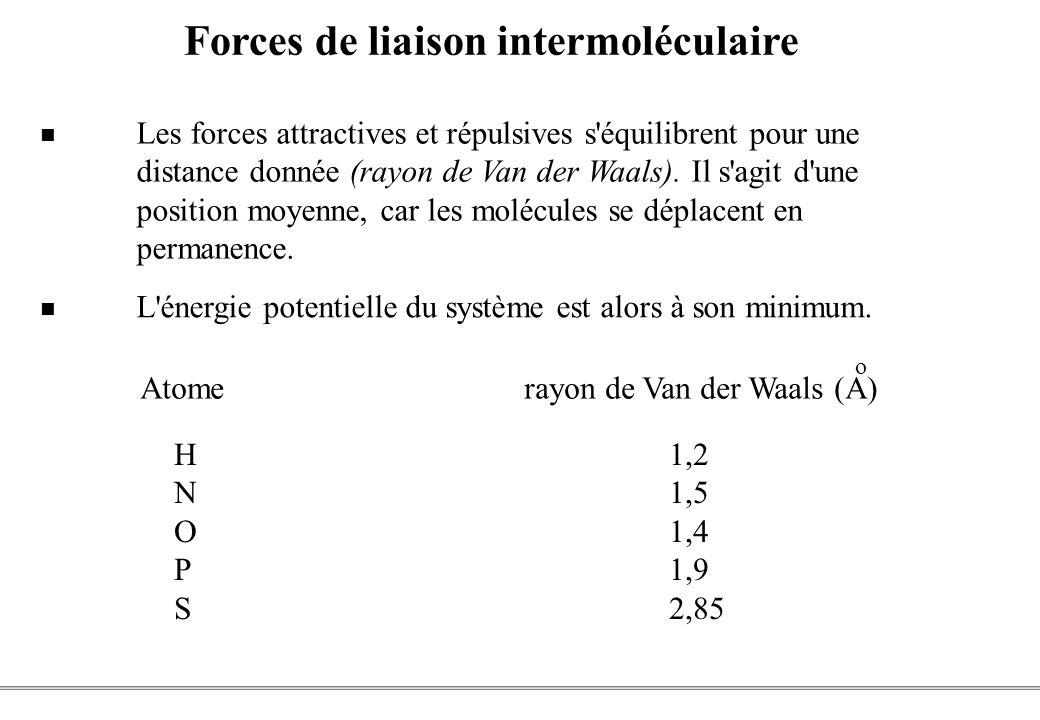PCEM1 – Biophysique- 20 - Les forces attractives et répulsives s équilibrent pour une distance donnée (rayon de Van der Waals).