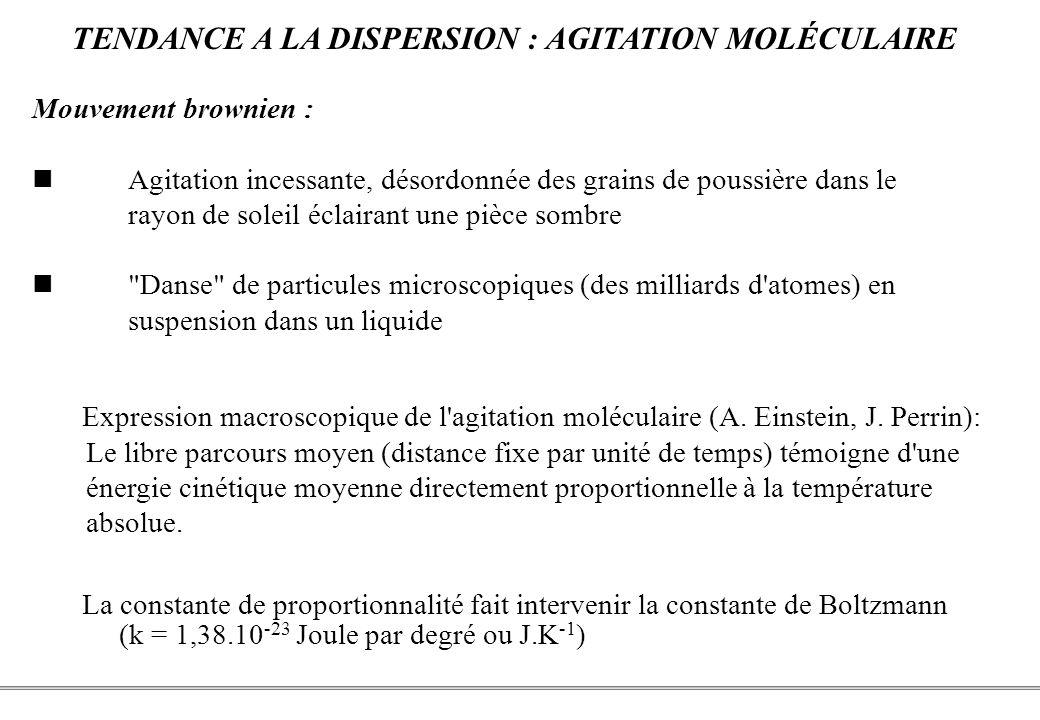 PCEM1 – Biophysique- 21 - La constante de proportionnalité fait intervenir la constante de Boltzmann (k = 1,38.10 -23 Joule par degré ou J.K -1 ) Expression macroscopique de l agitation moléculaire (A.
