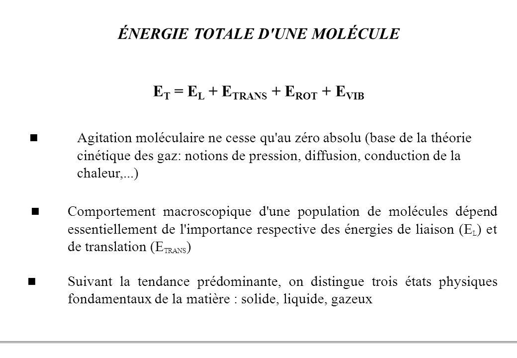 PCEM1 – Biophysique- 24 - ÉNERGIE TOTALE D UNE MOLÉCULE E T = E L + E TRANS + E ROT + E VIB Comportement macroscopique d une population de molécules dépend essentiellement de l importance respective des énergies de liaison (E L ) et de translation (E TRANS ) Suivant la tendance prédominante, on distingue trois états physiques fondamentaux de la matière : solide, liquide, gazeux Agitation moléculaire ne cesse qu au zéro absolu (base de la théorie cinétique des gaz: notions de pression, diffusion, conduction de la chaleur,...)