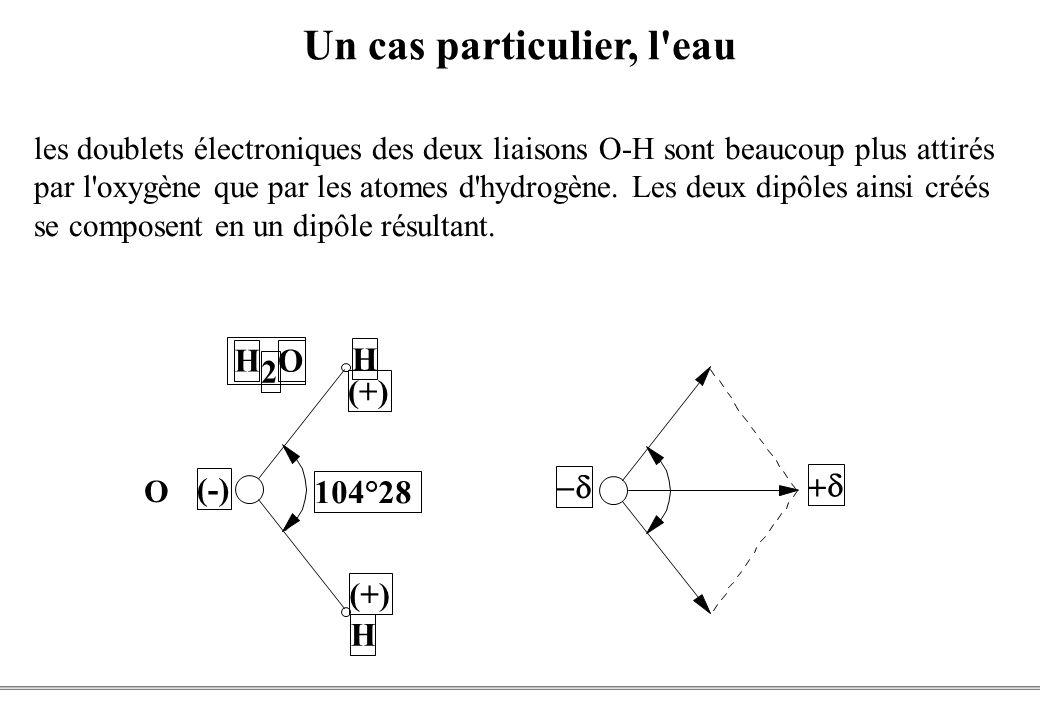 PCEM1 – Biophysique- 9 - Un cas particulier, l eau H 2 O (-) H H (+) 104°28 les doublets électroniques des deux liaisons O-H sont beaucoup plus attirés par l oxygène que par les atomes d hydrogène.