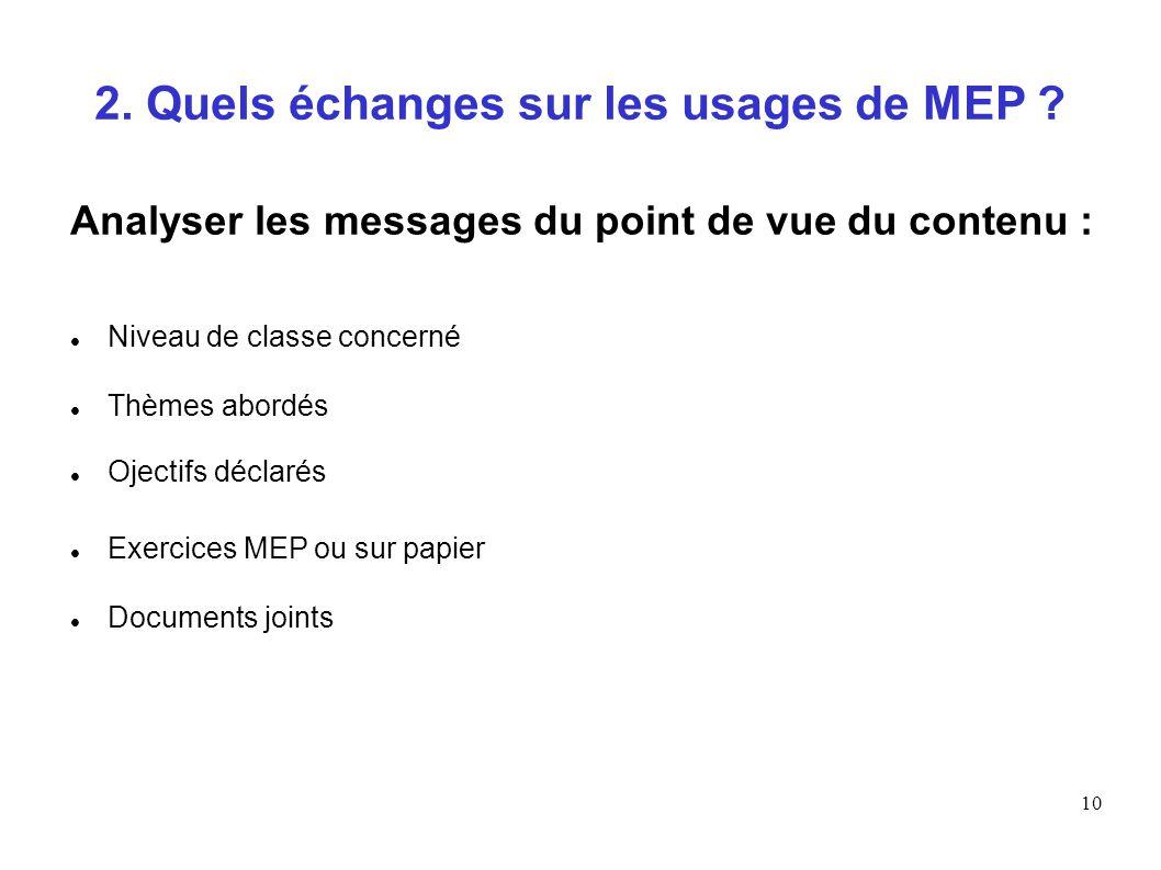 10 2. Quels échanges sur les usages de MEP ? Analyser les messages du point de vue du contenu : Niveau de classe concerné Thèmes abordés Ojectifs décl