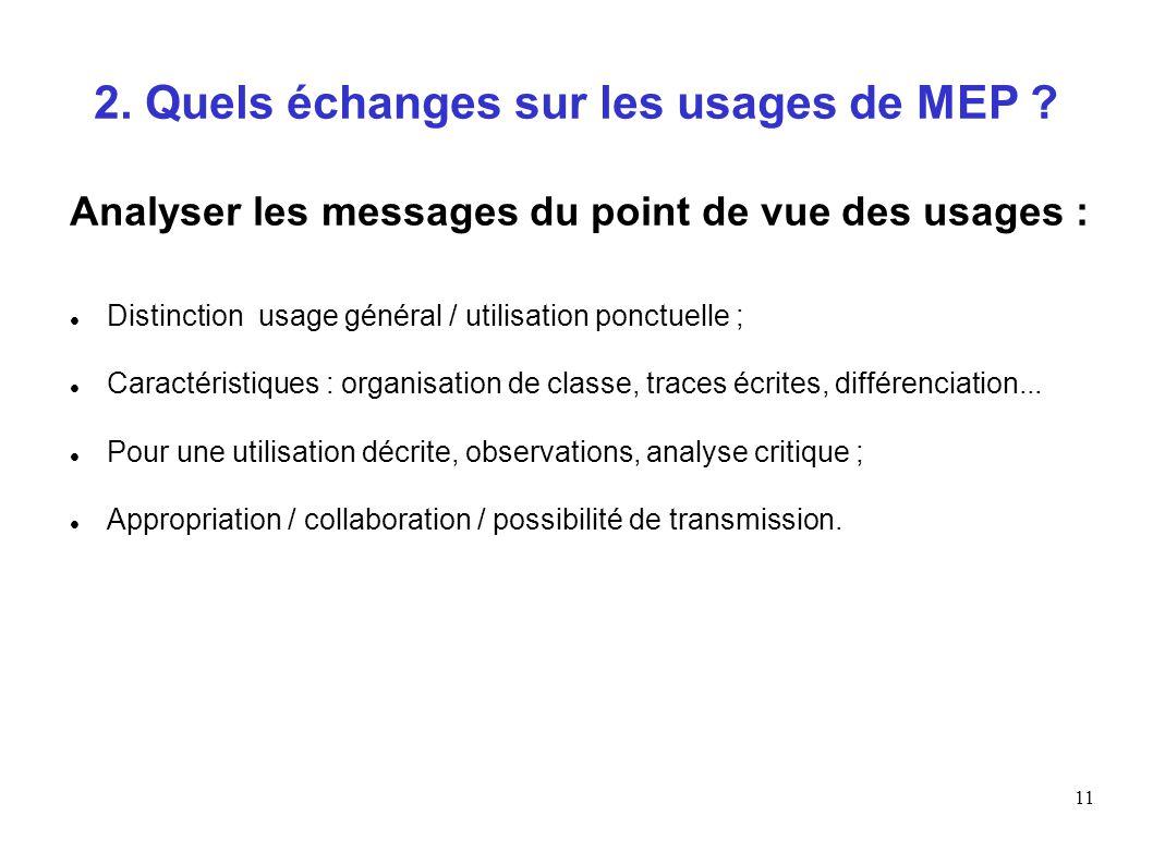 11 2. Quels échanges sur les usages de MEP ? Analyser les messages du point de vue des usages : Distinction usage général / utilisation ponctuelle ; C
