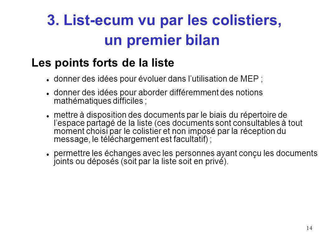 14 3. List-ecum vu par les colistiers, un premier bilan Les points forts de la liste donner des idées pour évoluer dans lutilisation de MEP ; donner d
