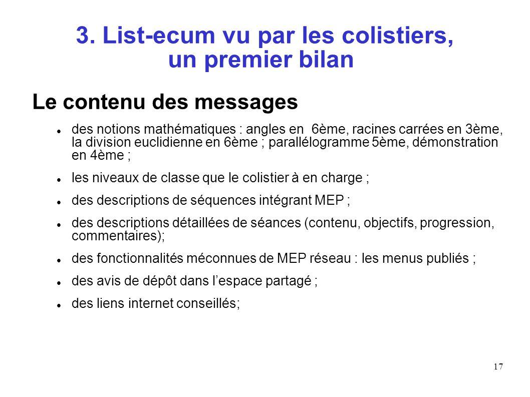 17 3. List-ecum vu par les colistiers, un premier bilan Le contenu des messages des notions mathématiques : angles en 6ème, racines carrées en 3ème, l