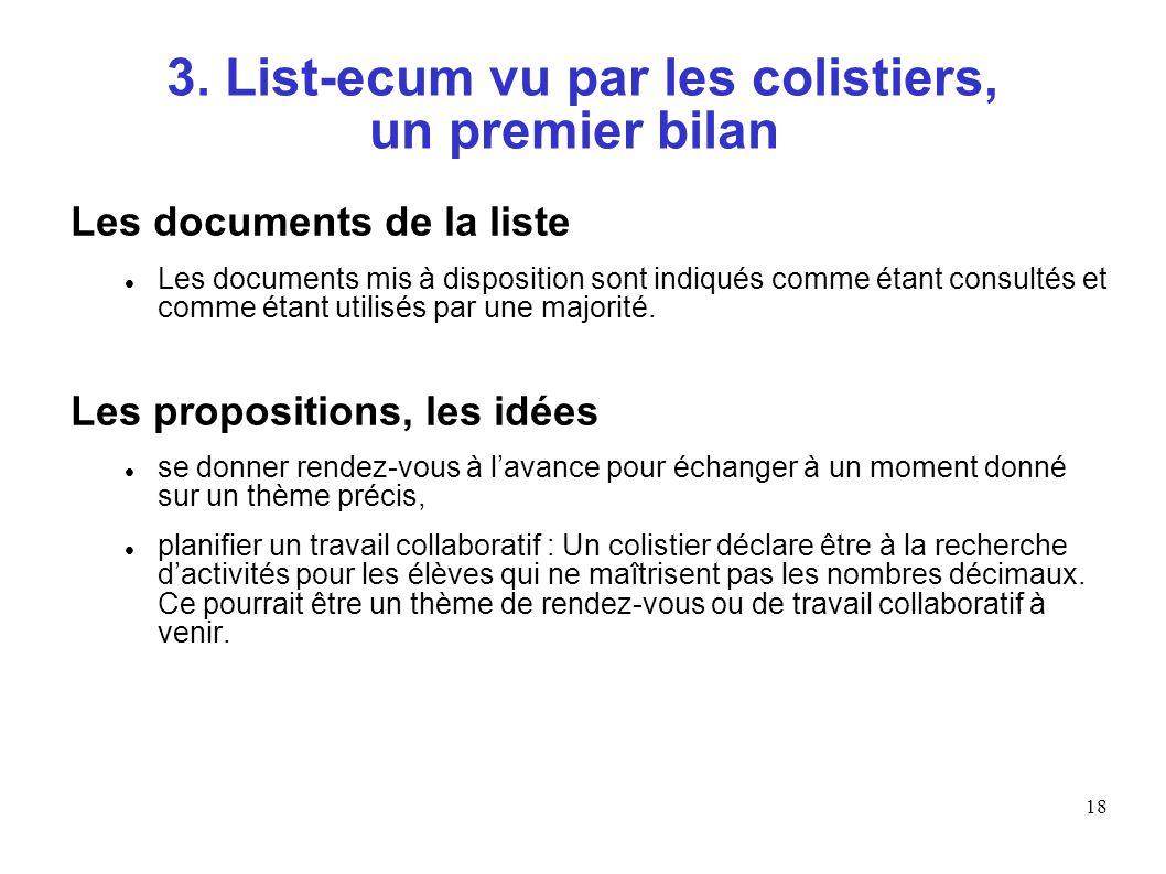 18 3. List-ecum vu par les colistiers, un premier bilan Les documents de la liste Les documents mis à disposition sont indiqués comme étant consultés