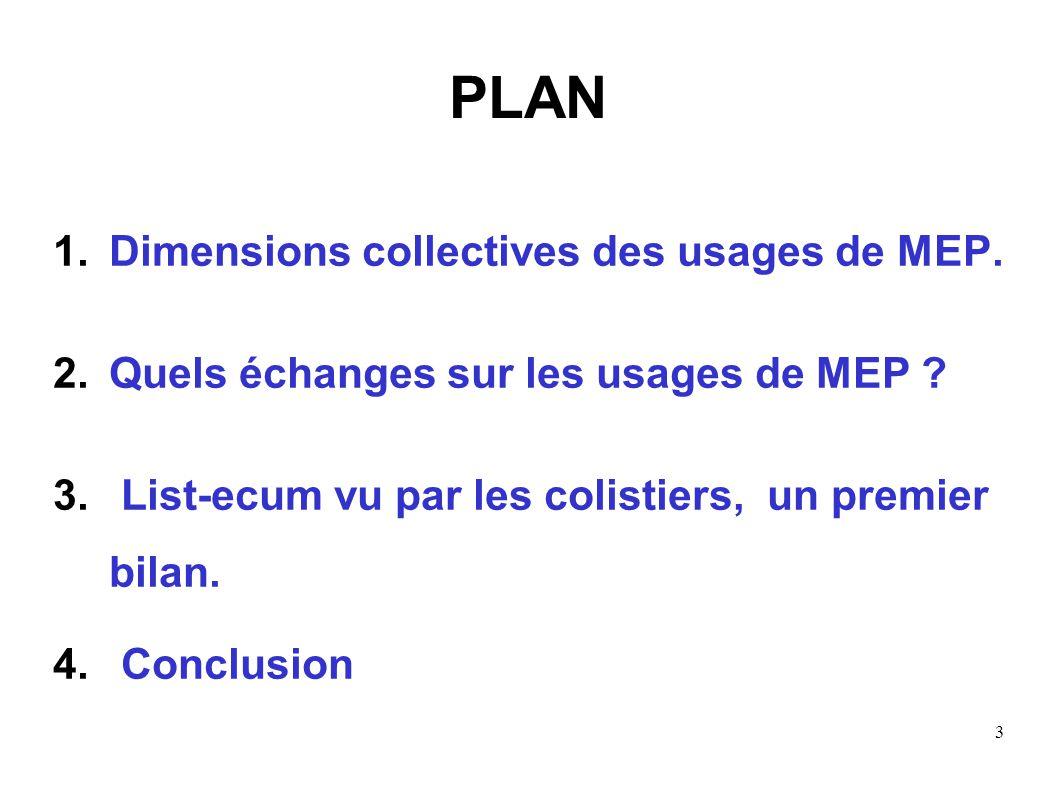 3 PLAN 1.Dimensions collectives des usages de MEP. 2.Quels échanges sur les usages de MEP ? 3. List-ecum vu par les colistiers, un premier bilan. 4. C