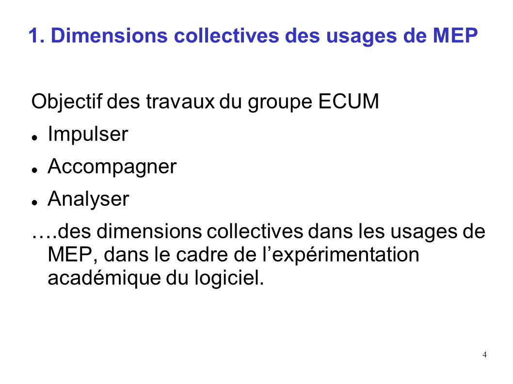 4 1. Dimensions collectives des usages de MEP Objectif des travaux du groupe ECUM Impulser Accompagner Analyser ….des dimensions collectives dans les