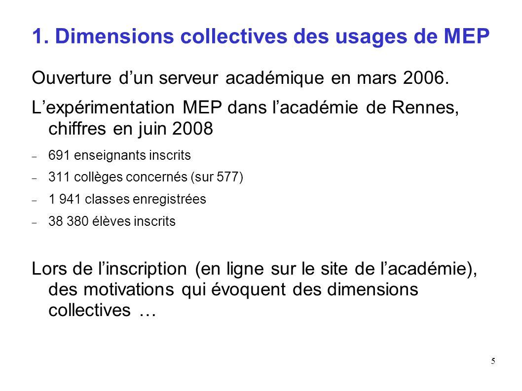 5 1. Dimensions collectives des usages de MEP Ouverture dun serveur académique en mars 2006. Lexpérimentation MEP dans lacadémie de Rennes, chiffres e