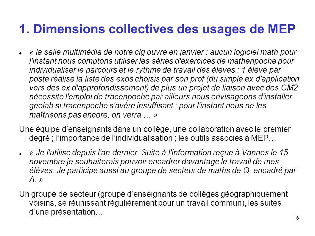 6 1. Dimensions collectives des usages de MEP « la salle multimédia de notre clg ouvre en janvier : aucun logiciel math pour l'instant nous comptons u