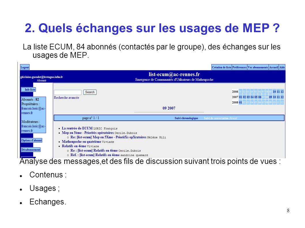 8 2. Quels échanges sur les usages de MEP ? La liste ECUM, 84 abonnés (contactés par le groupe), des échanges sur les usages de MEP. Analyse des messa