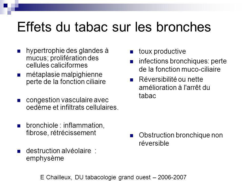Conséquences Bronchite chronique : Clinique hypersécrétion muqueuse bronchique chronique, permanente ou récidivante, survenant la plupart des jours, au moins trois mois par an pendant au moins deux années consécutives .