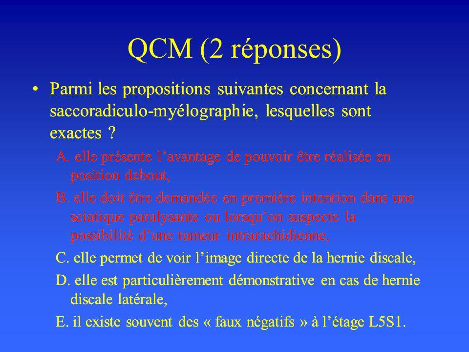 QCM (2 réponses) Parmi les propositions suivantes concernant la saccoradiculo-myélographie, lesquelles sont exactes ? A. elle présente lavantage de po