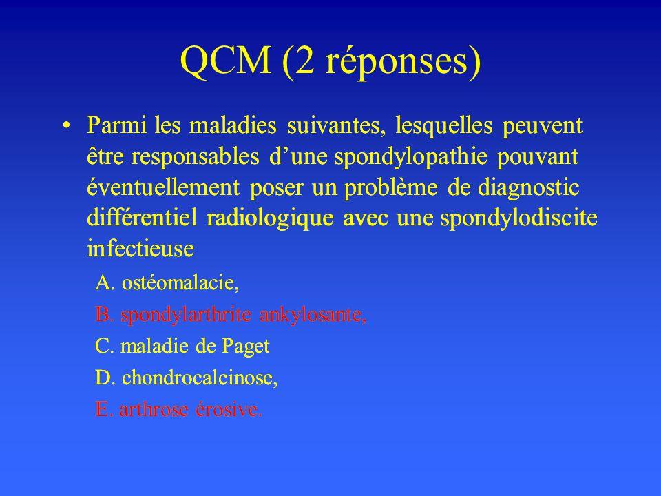 QCM (2 réponses) Parmi les maladies suivantes, lesquelles peuvent être responsables dune spondylopathie pouvant éventuellement poser un problème de di