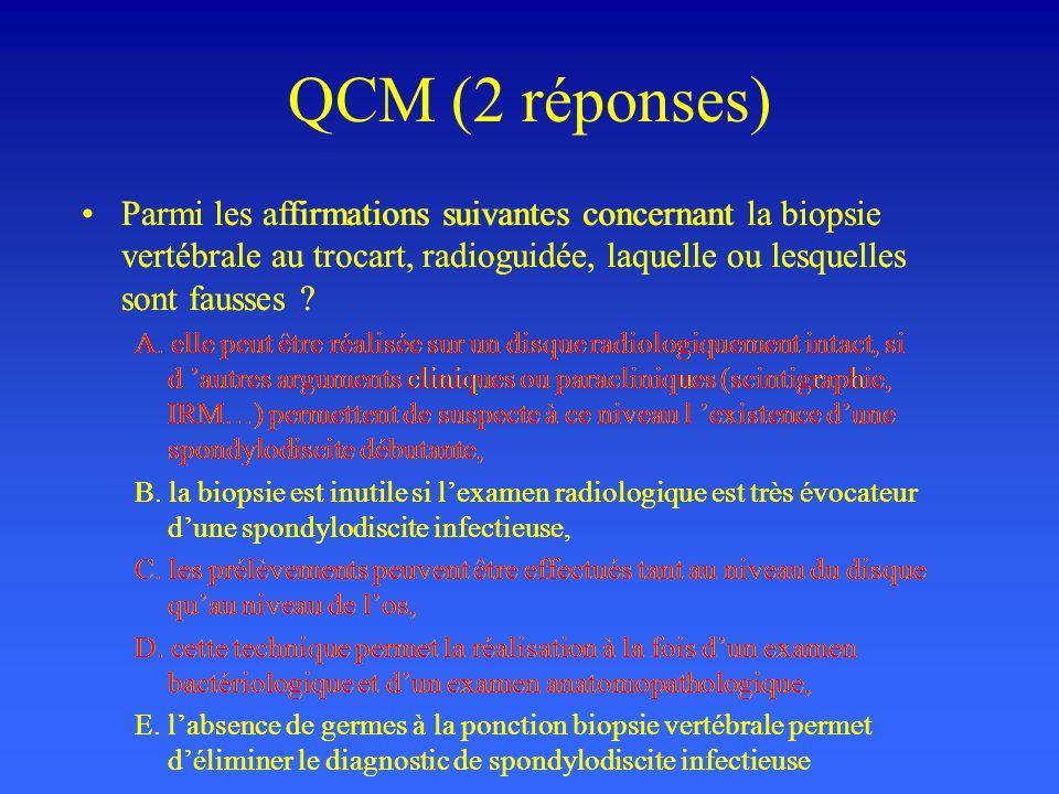 QCM (2 réponses) Parmi les affirmations suivantes concernant la biopsie vertébrale au trocart, radioguidée, laquelle ou lesquelles sont fausses ? A. e