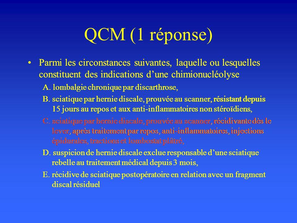 QCM (1 réponse) Parmi les circonstances suivantes, laquelle ou lesquelles constituent des indications dune chimionucléolyse A. lombalgie chronique par