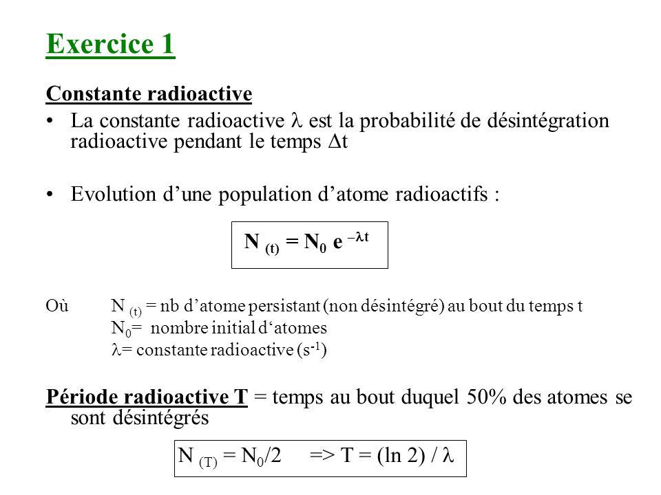 Exercice 1 Constante radioactive La constante radioactive est la probabilité de désintégration radioactive pendant le temps t Evolution dune populatio