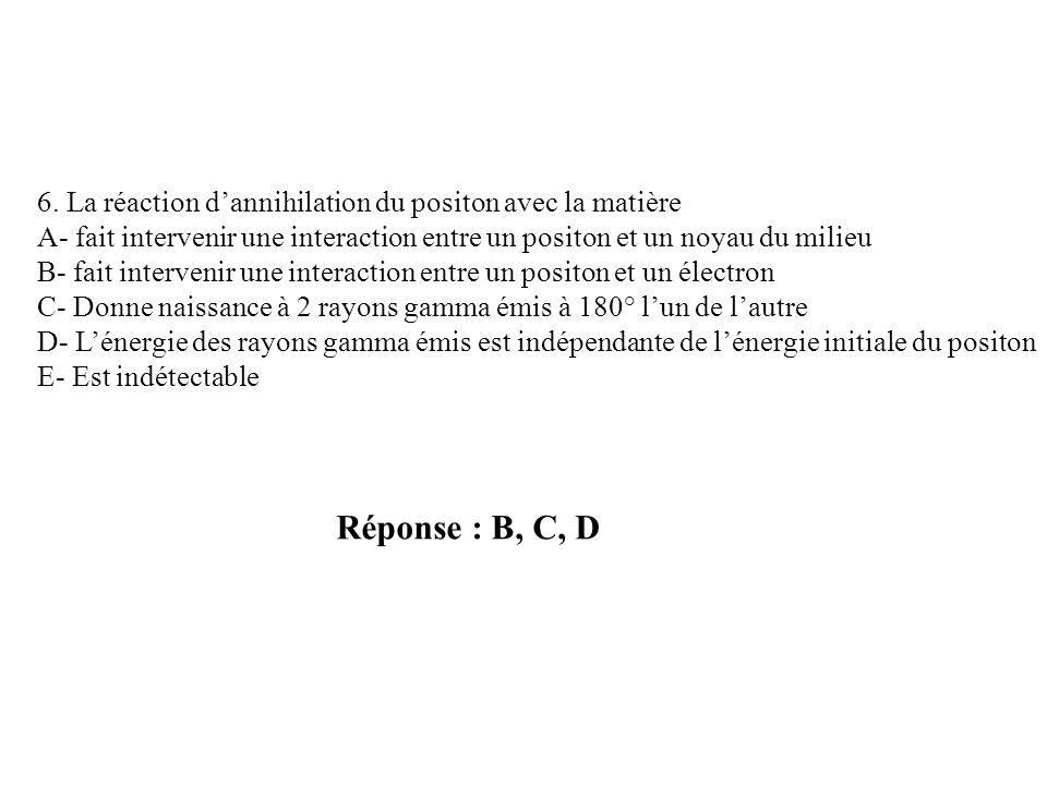 Réponse : B, C, D 6. La réaction dannihilation du positon avec la matière A- fait intervenir une interaction entre un positon et un noyau du milieu B-