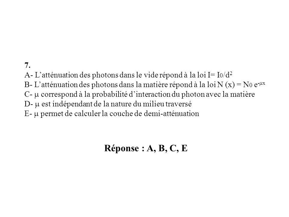 Réponse : A, B, C, E 7. A- Latténuation des photons dans le vide répond à la loi I= I 0 /d 2 B- Latténuation des photons dans la matière répond à la l