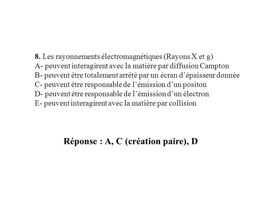 Réponse : A, C (création paire), D 8. Les rayonnements électromagnétiques (Rayons X et g) A- peuvent interagirent avec la matière par diffusion Campto