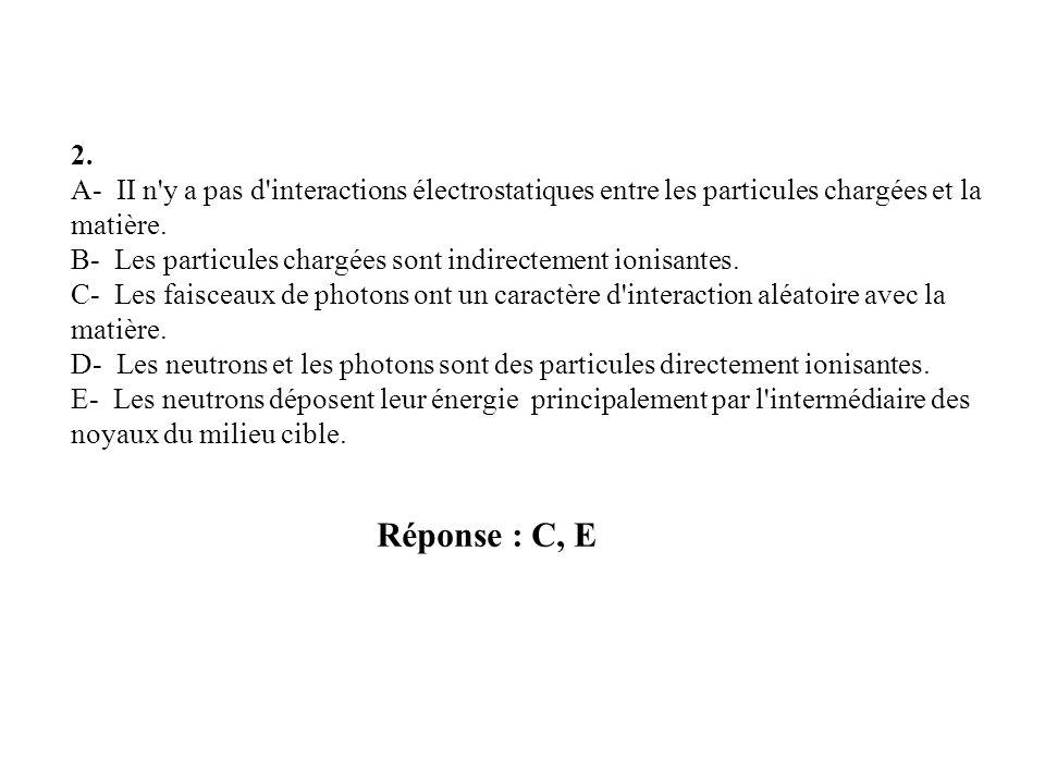 Réponse : C, E 2. A- II n'y a pas d'interactions électrostatiques entre les particules chargées et la matière. B- Les particules chargées sont indirec