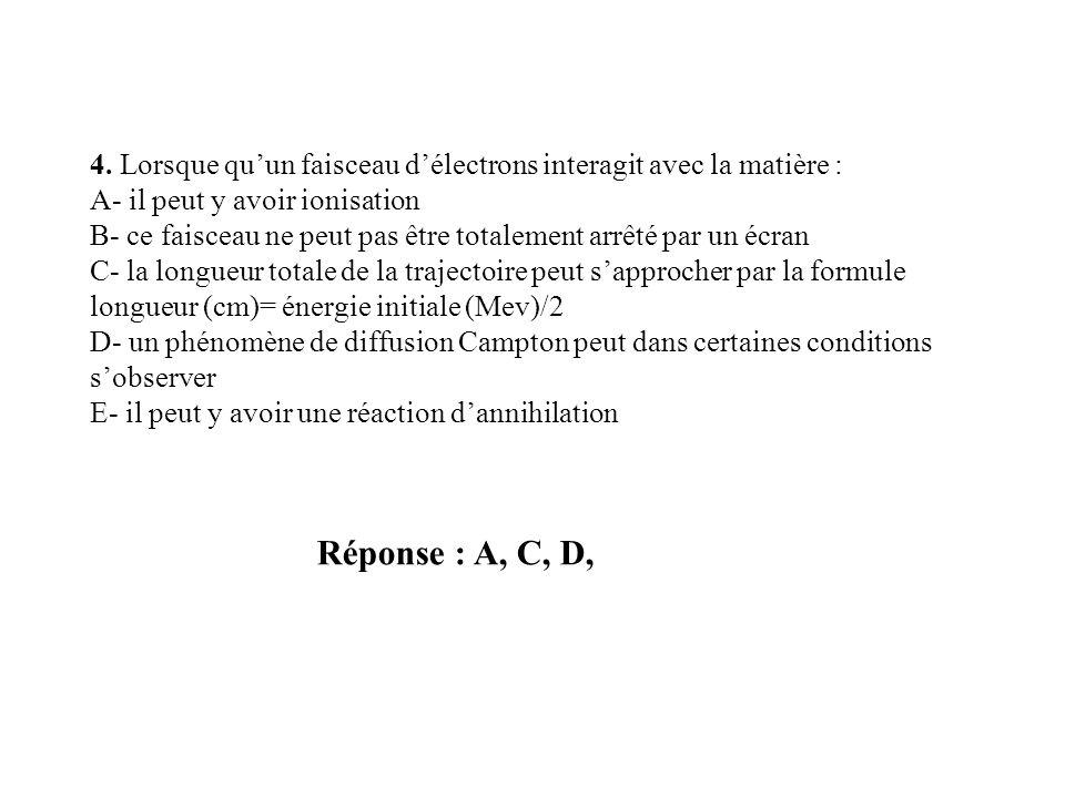 Réponse : A, C, D, 4. Lorsque quun faisceau délectrons interagit avec la matière : A- il peut y avoir ionisation B- ce faisceau ne peut pas être total