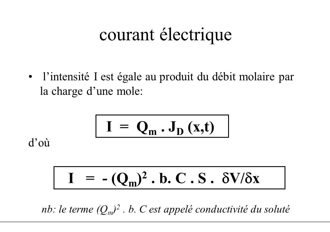 PCEM1 – Biophysique- 14 - courant électrique lintensité I est égale au produit du débit molaire par la charge dune mole: doù nb: le terme (Q m ) 2. b.
