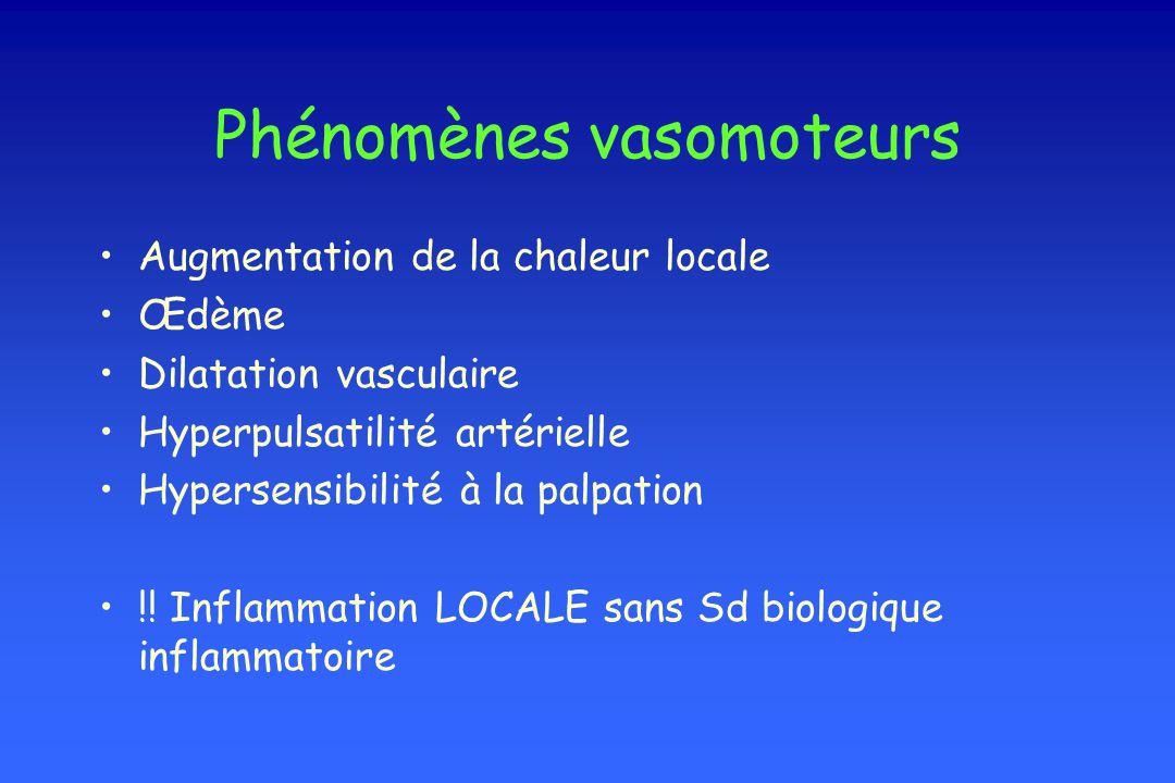 Phénomènes vasomoteurs Augmentation de la chaleur locale Œdème Dilatation vasculaire Hyperpulsatilité artérielle Hypersensibilité à la palpation !! In