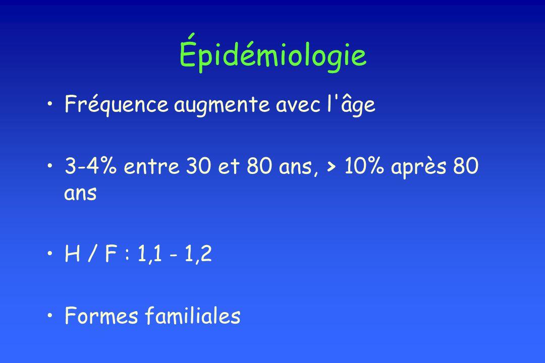 Épidémiologie Fréquence augmente avec l'âge 3-4% entre 30 et 80 ans, > 10% après 80 ans H / F : 1,1 - 1,2 Formes familiales
