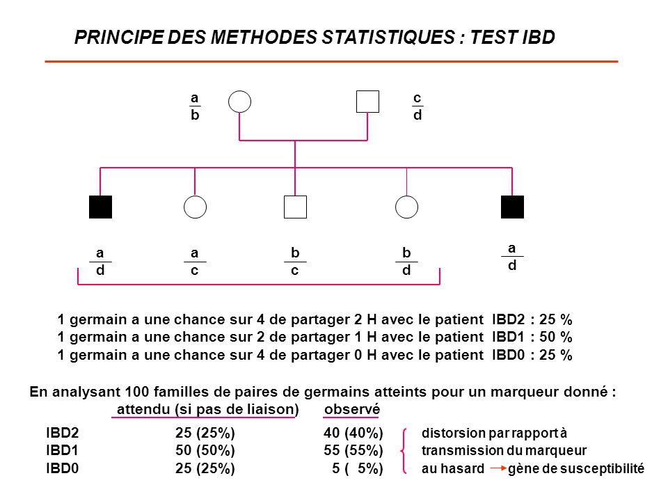 PRINCIPE DES METHODES STATISTIQUES : TEST IBD abab cdcd adad adad acac bcbc bdbd 1 germain a une chance sur 4 de partager 2 H avec le patient IBD2 : 2