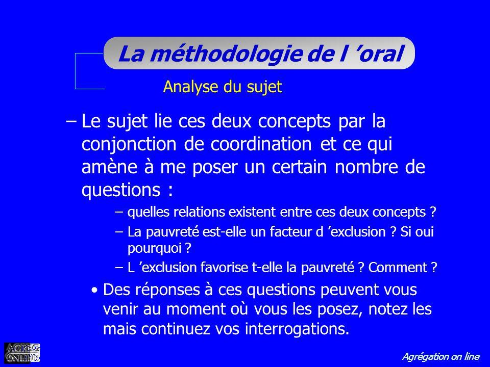 Agrégation on line La méthodologie de l oral Analyse du sujet –Le sujet lie ces deux concepts par la conjonction de coordination et ce qui amène à me