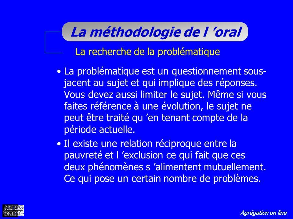Agrégation on line La méthodologie de l oral La recherche de la problématique La problématique est un questionnement sous- jacent au sujet et qui impl