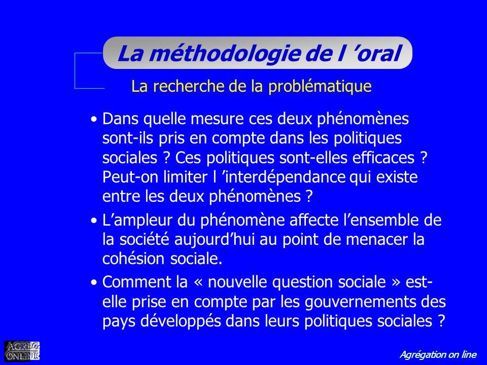Agrégation on line La méthodologie de l oral La recherche de la problématique Dans quelle mesure ces deux phénomènes sont-ils pris en compte dans les