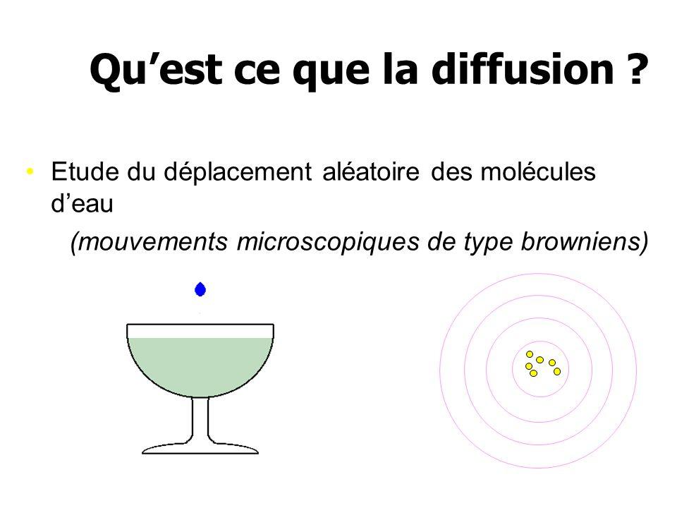 Etude du déplacement aléatoire des molécules deau (mouvements microscopiques de type browniens) Quest ce que la diffusion ?