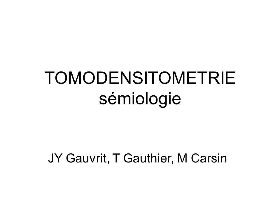 TOMODENSITOMETRIE sémiologie JY Gauvrit, T Gauthier, M Carsin
