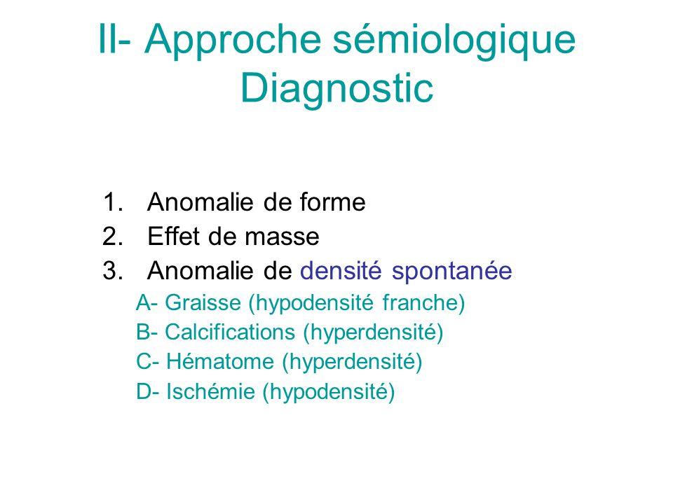 II- Approche sémiologique Diagnostic 1.Anomalie de forme 2.Effet de masse 3.Anomalie de densité spontanée A- Graisse (hypodensité franche) B- Calcifications (hyperdensité) C- Hématome (hyperdensité) D- Ischémie (hypodensité)