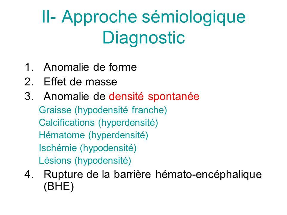 II- Approche sémiologique Diagnostic 1.Anomalie de forme 2.Effet de masse 3.Anomalie de densité spontanée Graisse (hypodensité franche) Calcifications (hyperdensité) Hématome (hyperdensité) Ischémie (hypodensité) Lésions (hypodensité) 4.Rupture de la barrière hémato-encéphalique (BHE)