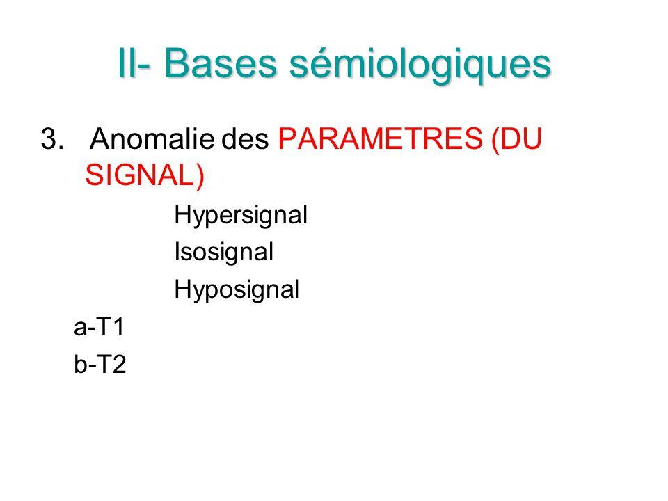 II- Bases sémiologiques 3. Anomalie des PARAMETRES (DU SIGNAL) Hypersignal Isosignal Hyposignal a-T1 b-T2