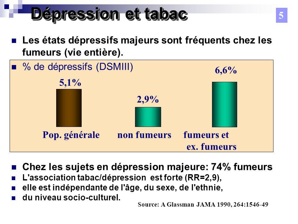 Dépression et tabac Les états dépressifs majeurs sont fréquents chez les fumeurs (vie entière).