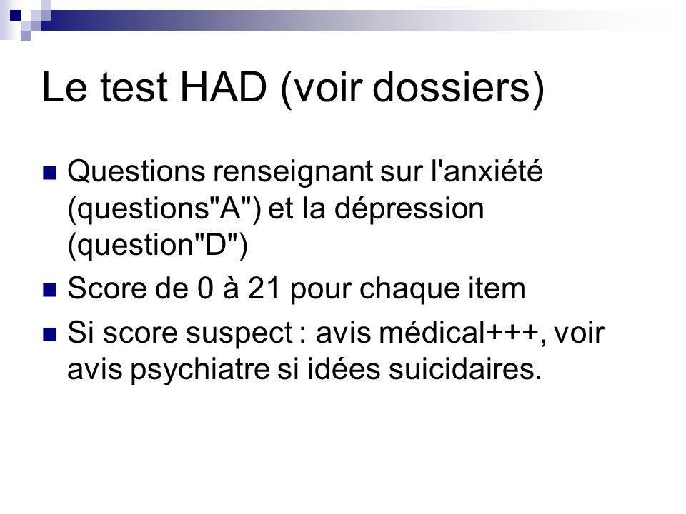 Le test HAD (voir dossiers) Questions renseignant sur l anxiété (questions A ) et la dépression (question D ) Score de 0 à 21 pour chaque item Si score suspect : avis médical+++, voir avis psychiatre si idées suicidaires.
