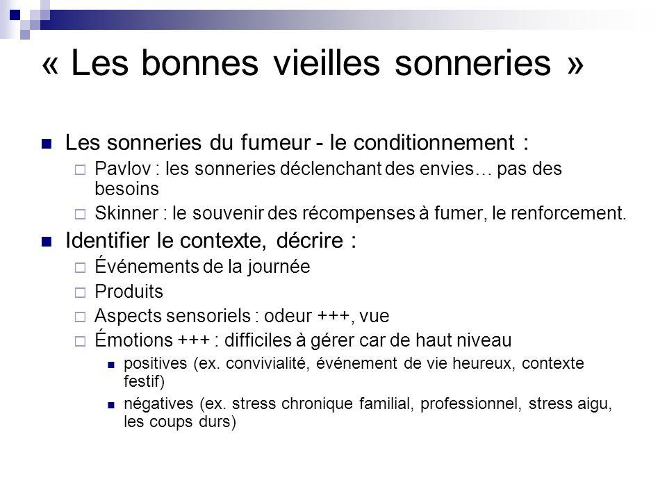 « Les bonnes vieilles sonneries » Les sonneries du fumeur - le conditionnement : Pavlov : les sonneries déclenchant des envies… pas des besoins Skinner : le souvenir des récompenses à fumer, le renforcement.