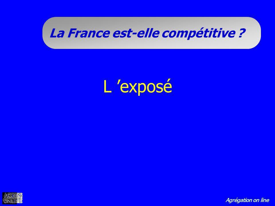 Agrégation on line La France est-elle compétitive ? L exposé